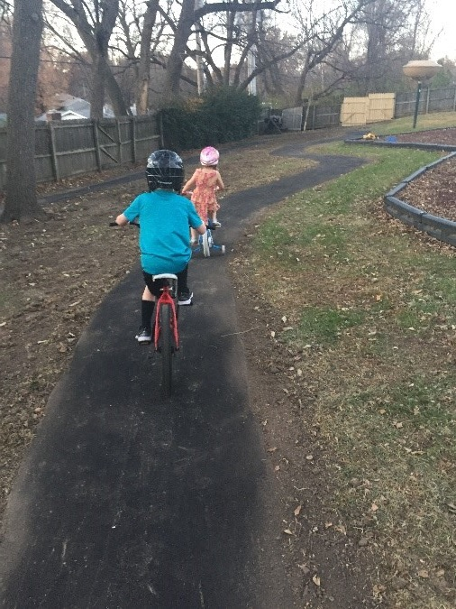 Kids enjoying bike path